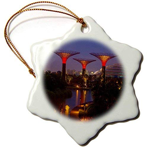 OneMtoss Danita Delimont Singapore Singapore. Garden by The Sea Towers at Night Snowflake Porcelain Ornament -