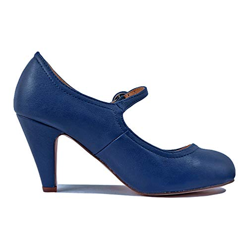 Chase & Chloe Kimmy-21 Women's Round Toe Pierced Mid Heel Mary Jane Style Dress Pumps (8.5 B(M) US, Blue Navy)