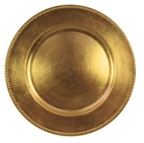 Charge It By Danny Gold Beaded Round Charger Plates Premium Quality, (GOLD BEADED 12 PACK)