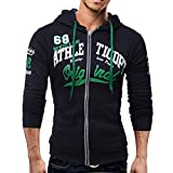 kaifongfu Mens Long Sleeve Hoodie Men Sweatshirt Jacket Coat Top(Navy,3XL)