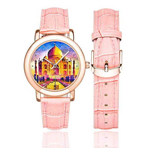 (InterestPrint Funny Agra Taj Mahal Colorful Architecture Women's Rose Gold-plated Leather Strap Watches Wrist Watch)