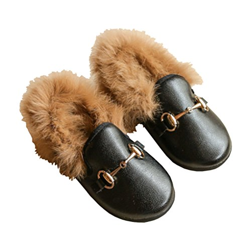 Toddler Girls Round Toe Fur Lining Slip on Loafers Flats Outdoor Slides Slippers