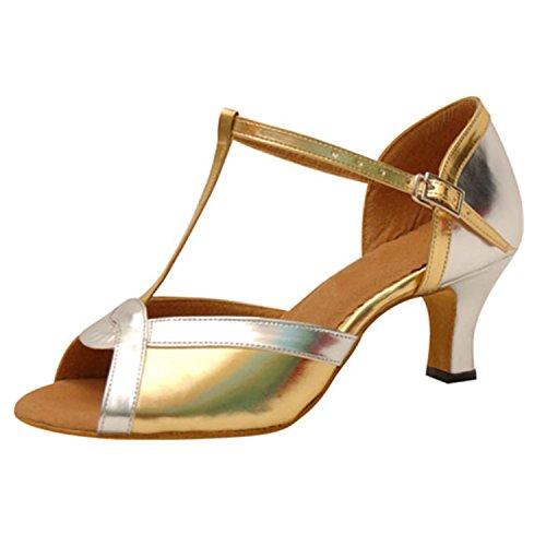 6CM Dance Cadeaux 43 Dance latine femmes danse Golden Tango chaussures YFF danse US4CqTww