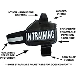 "Service Dog Harness Vest Cool Comfort Nylon for Dogs Small Medium Large Girth, Purchase Comes with 2 in Training Reflective Patches. Please Measure Dog Before Ordering (Girth 19-25"", Black)"