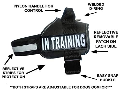 Service Dog Harness Vest Cool Comfort Nylon for Dogs Small Medium Large Girth, Purchase Comes with 2 in Training Reflective Patches. Please Measure Dog Before Ordering (Girth 28-38, Black)