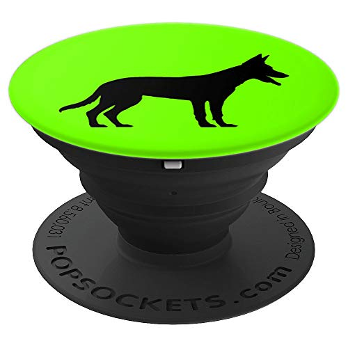 Belgian Malinois Silhouette Custom Designed Gift Idea - PopSockets Grip and Stand for Phones and Tablets