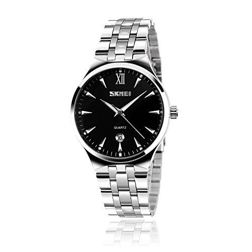 Watches Mens Luxury Steel Band Quartz Analog Wrist Watchf Date Men's Watch Auto Date (German Wrist Watches)