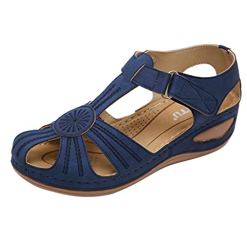 Women Flats Shoes Comfortable Ankle Hollow Round Toe Sandals Soft Sole Shoes Blue (Best Spinning Wedges 2019)