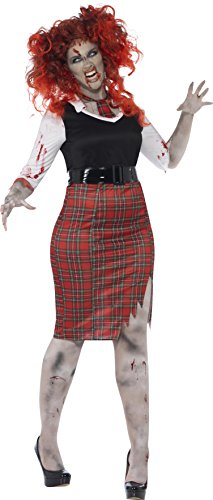 Smiffy's Women's Zombie School Girl Costume, Dress, Tie and Belt, Zombie Alley, Halloween, Plus Size 18-20, (Baby Girl Halloween Costumes Uk)