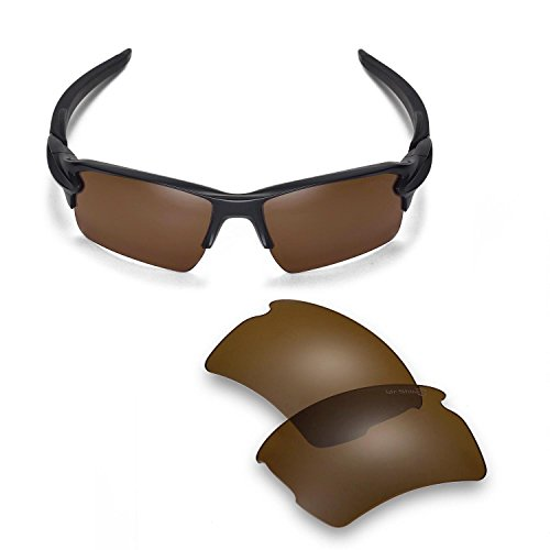 (Walleva Replacement Lenses for Oakley Flak 2.0 XL Sunglasses - 14 Options Available (Brown- Mr. Shield)