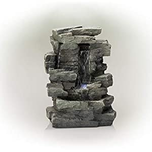 Alpine Waterfall Tabletop Fountain w/ White LED Light, Gray, 13 Inch Tall
