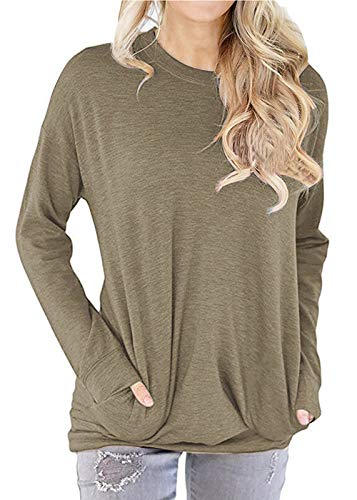 TWKIOUE Tunic with Pockets, Women's Blouse Casual Long Sleeve Round Neck Side Zip Pullover Sweatshirt Tunic Tops Khaki S