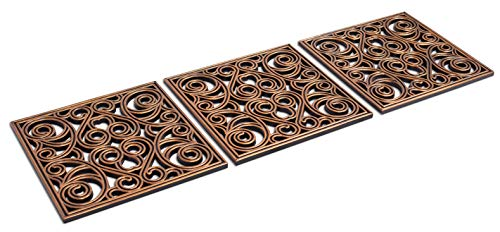 BIRDROCK HOME 12 x 12 Rubber Stepping Stones Tile | Copper | Set of 3 | Decorative Garden Mats | Sturdy Durable Steps | Perfect for Gardens Path, Flowerbed, Gravel, Dirt, Grass