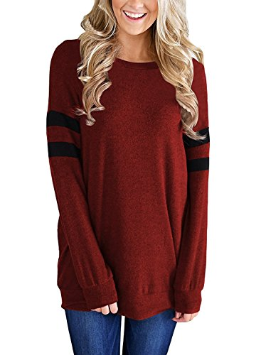 YiYaYo Womens Long Sleeve Round Neck Color Block Sweatshirt Tunic Pullover Tops Blouse Red L