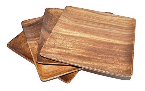 Pacific Merchants Acaciaware 10-Inch Acacia Wood Square Serving Tray, set of 4,Brown,10 Inch, Set of 4
