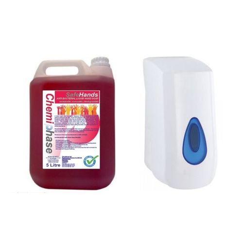 Safe Hands - Anti-Bacterial Liquid Hand Soap - 5 Litres with Dispenser Chemiphase