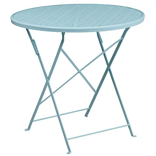 Flash Furniture CO-4-SKY-GG Metal 30RD Sky Folding Patio Table, Blue