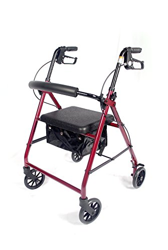 Caremax Aluminum Folding Rollator Walker Mobility Aid with 7.5'' Wheels and Storage Bag, Burgundy by CareMax