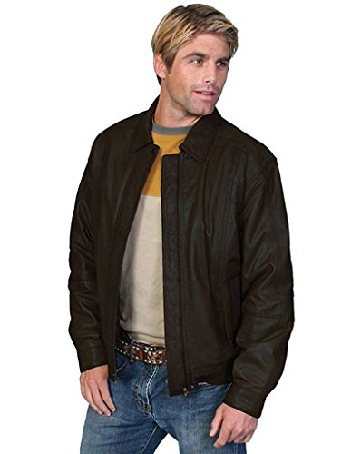 Lambskin Zip Front Jacket (Scully Leather Mens Premium Lambskin Zip Front Jacket Black 2X)
