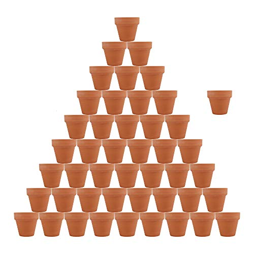 46pcs Small Mini Clay Pots,2.1'' Terracotta Pot Mini Flower Pots with Drainage Holes,Clay Ceramic Pottery Planter,Cactus Flower Terra Cotta Pots,Succulent Nursery Pots,for Indoor/Outdoor Plants
