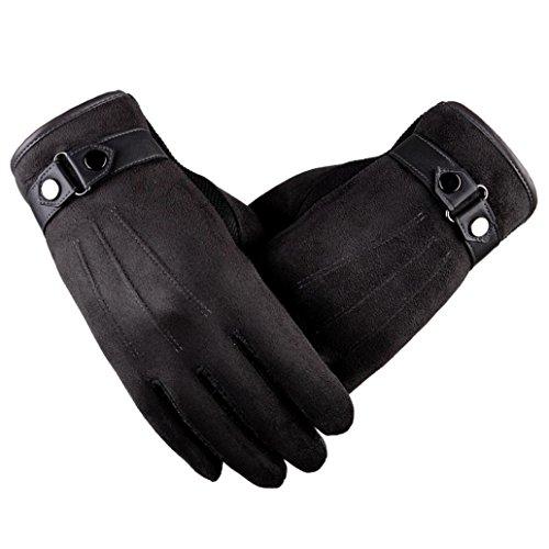 Tenworld Men's Winter Warm Motorcycle Gloves Ski Snow Touchscreen Dress Driving Gloves (Gray)