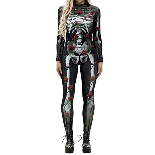 3D Halloween Red Bloomma Costume Imprimer crane Dark Longues Body Manches Stretch Squelette Combi agxxSwn6q