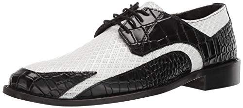 STACY ADAMS Men's Giansanti Croco-Rombo Print Lace-Up Oxford Black/White 11.5 M US