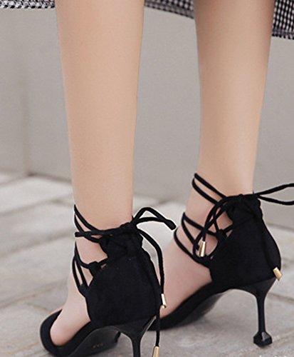 Ouvert Bout Kitten heel Style Noir Original Sandales Aisun Lacer Femme wq1HIH