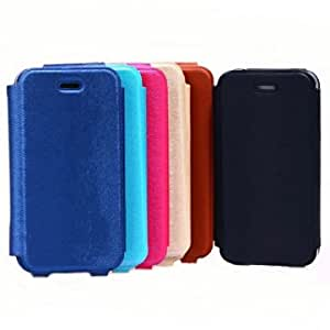 Fashion Mink Grain PU Leather Hard Case Cover For iPhone 4 4S @ Color==Sky Blue