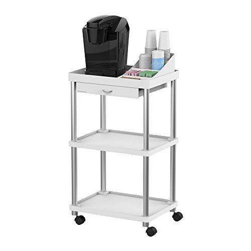 Mind Reader All Purpose Rolling Cart, Printer Cart, Utility Cart, Kitchen Cart, Coffee Cart, Microwave Cart, Bathroom Cart, 3 Tier, White ()