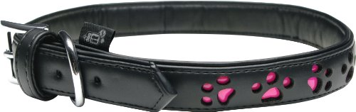 Dogit Style Faux Leather Reflective Dog Collar, Paw, X-Large, Black