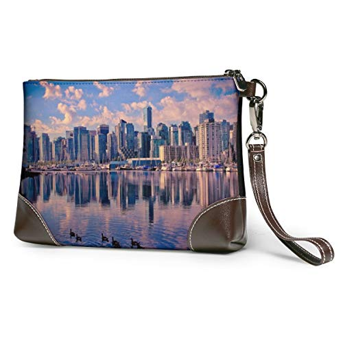Women's Leather Wristlet Clutch Wallet Canadian Cities Print Storage Purse With Strap Zipper Pouch