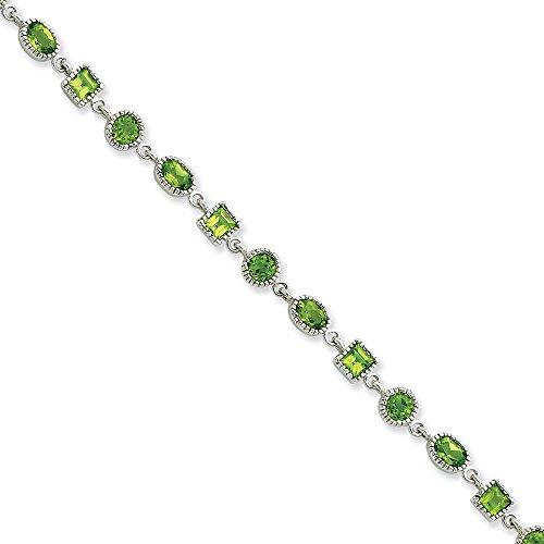 Bracelet en argent Sterling avec péridot - 7 mm-Fermoir mousqueton-JewelryWeb