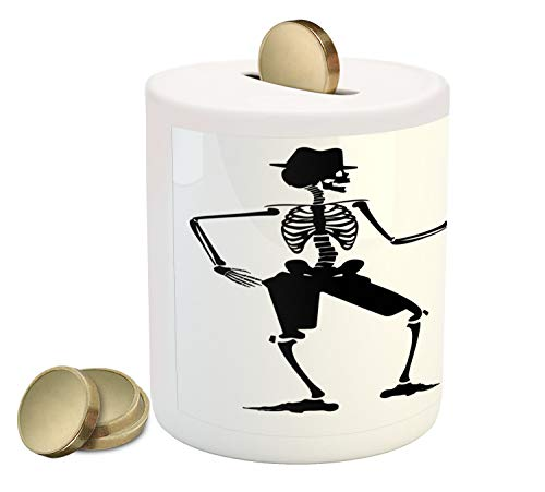 Ambesonne Skeleton Piggy Bank, Humorous Illustration of Dancing Halloween Couple in Clothes, Printed Ceramic Coin Bank Money Box for Cash Saving, Charcoal Grey and White -