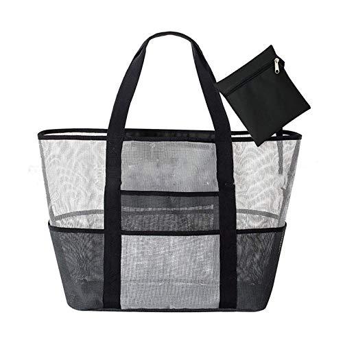 Foldable Storage Bags - Mesh Beach Handbag Family Net Picnic Storage Bag Shopping Black - Blanket Clothes Bags Storage Foldable Foldable Storage Bags Father Clothes Beach Designer Style Chain ()