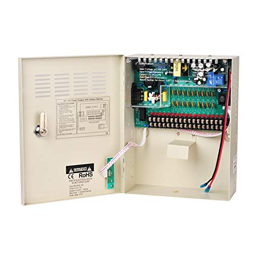 Xenocam 18 Channel 18 Way 12V 10Amp DC Metal Boxed Cabinet Regulated Power Supply Unit with Backup Battery Link for Burglar Alarms CCTV Cameras PTZ Access Control -