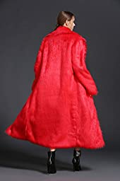 Feeson Women Winter Parka Outerwear Lapel Long Sleeve Maix Faux Fur Overcoat Red
