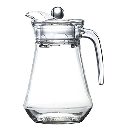 Quality Glass Pitcher With Lid And Handle - Elegant Jug Drink Ware - 1320 ml. For Hot Or Cold Drinks - 1.3ml. or 44 0z.