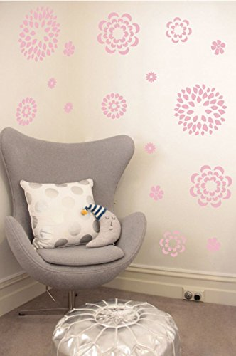 The Decal Guru Flower Pattern Wall Decal with Removable DIY Vinyl Sticker Girls Room Art Home Decor Graphic Transfer, 38