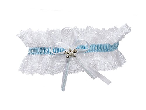 XL XXL Elastic Bridal Lace PLUS SIZE Garter - With SPARKLING Crystals in BUTTERFLY Shape - Something Blue Under Wedding Dress -- WHITE/BLUE