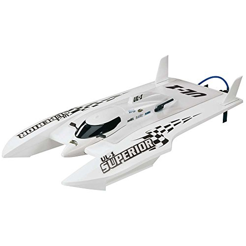 Aquacraft Models RTR Remote Control RC Boat: UL-1 Superior Brushless Electric High Speed Hydroplane with 2.4GHz Radio, Receiver, Servos, Water Cooled Motor and ESC, and Display / Workstand (White)