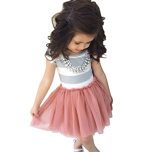 Baby Toddle Girls Tutu Dress Short Sleeves&Sleeveless Stripe Tulle Skirts A-line Dress (Pink, 8T) ()