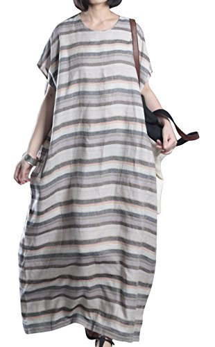 Cotton And Linen Striped Dress - 5