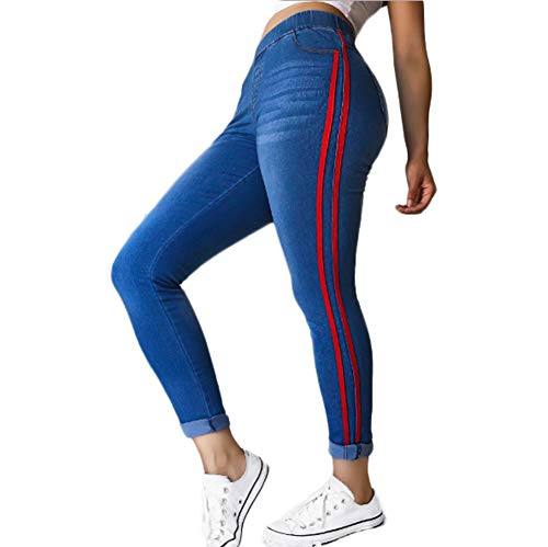 Womens Side Striped Jeans Tapered Leg Elastic Waist Skinny Long Pants (Red Stripe, ()