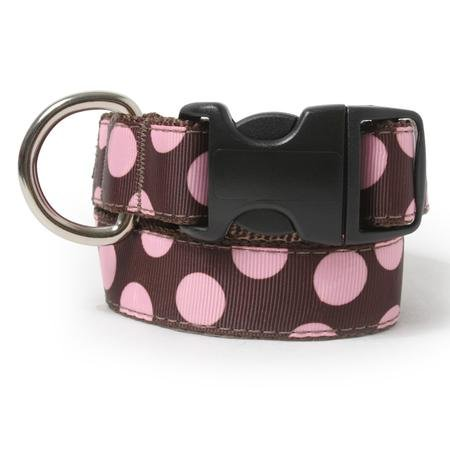 Two Tone Dots Brown Dog Collar-L(14_25)-PINK/BROWN
