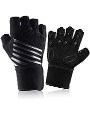 Gymhandskar, tungt tyngdlyftningshandskar med handledsstöd, andningsbara halkfria träningshandskar, heltäckande palmskydd och extra grepp, sporthandskar för träningsträning (passar för män och kvinnor) XL