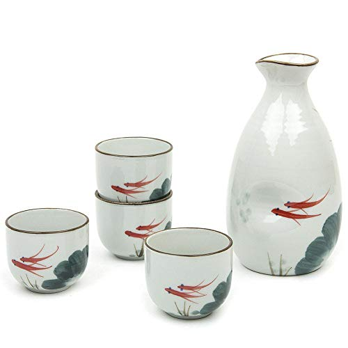 (Sake Set,Japanese Gifts 5 Pieces Traditional Japanese Sake Cup Set Hand Painted Design Porcelain Pottery Ceramic Cups Crafts Wine Glasses (Fish))