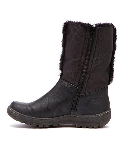 Bucco Flana Womens Fashion Faux Fur Vinterstøvler Svart / Mørk Grå