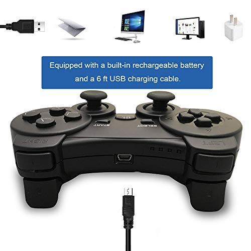 Mando PS3 inalámbrico Bluetooth Gamepad doble vibración Six-Axis mando a distancia Joystick para Playstation 3 con cable de carga (azul): Amazon.es: ...