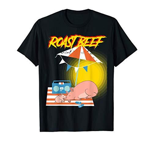 (Strange Roast Beef Tshirt -Funny 80s Ocean Beach Pig)
